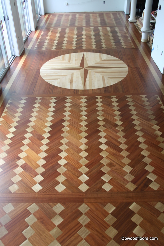 Hand cut parquet and eight foot hand cut medallion