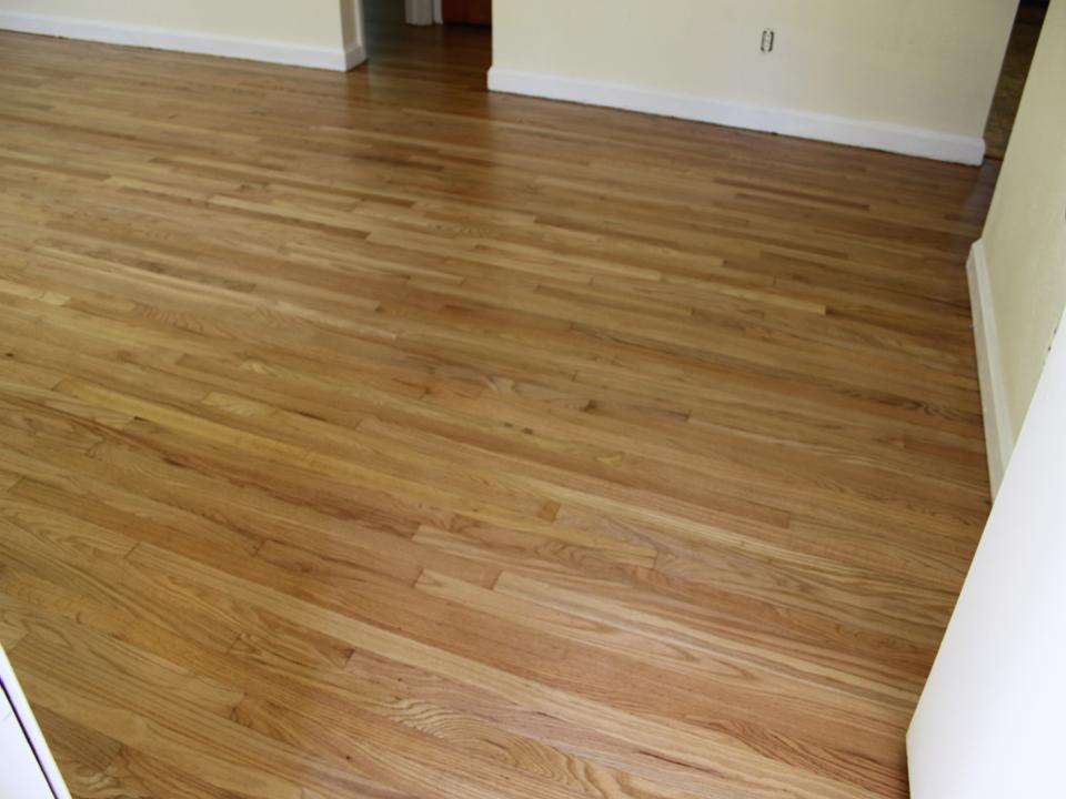 Living room discolored floor after