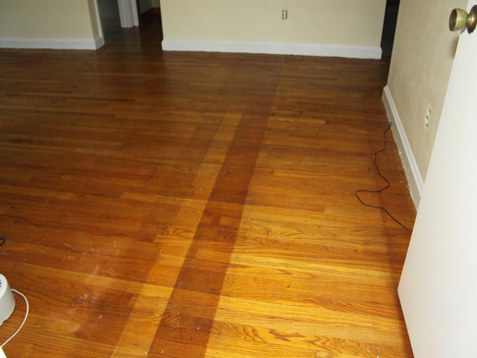 Living room discolored floor