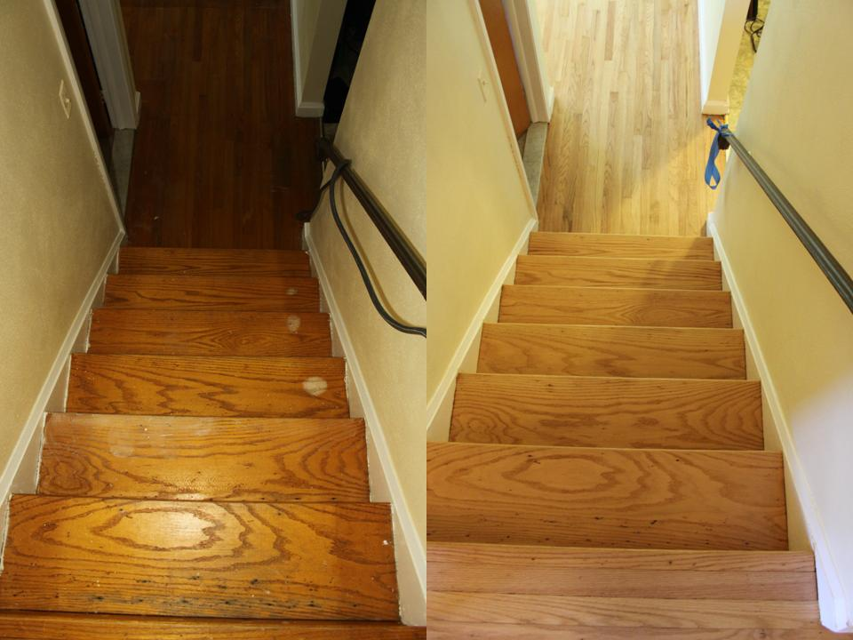 Oak stairs before after