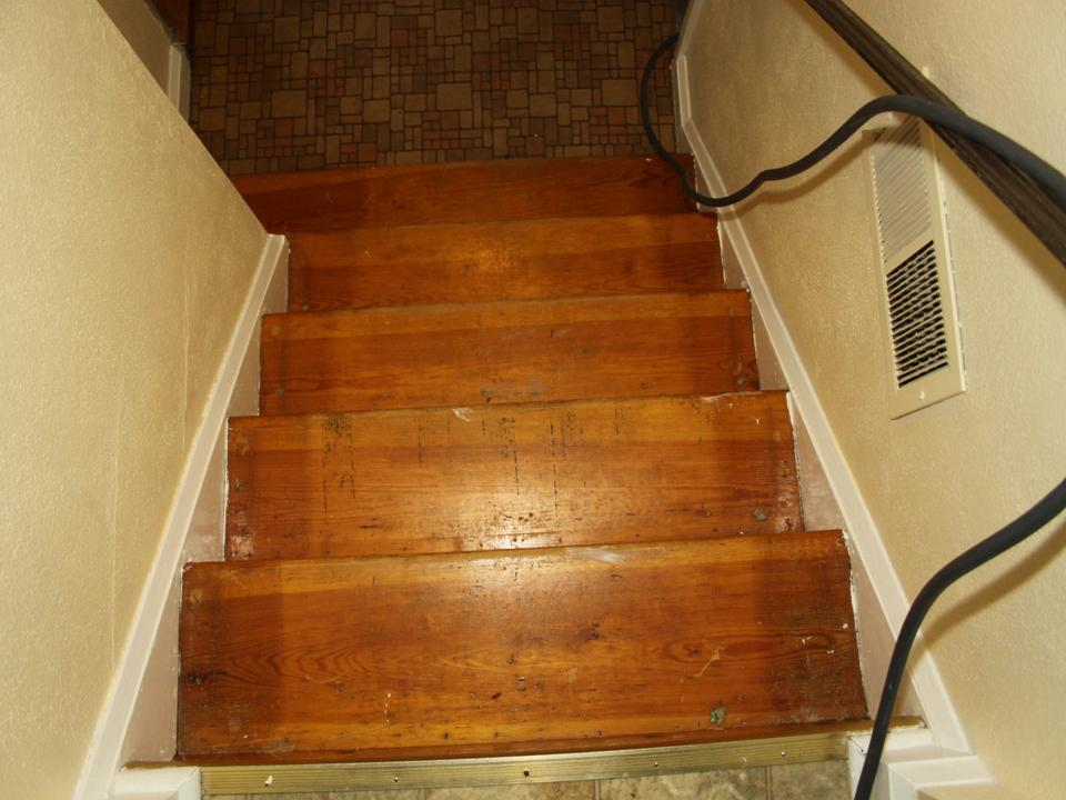 Pine stairs discolored