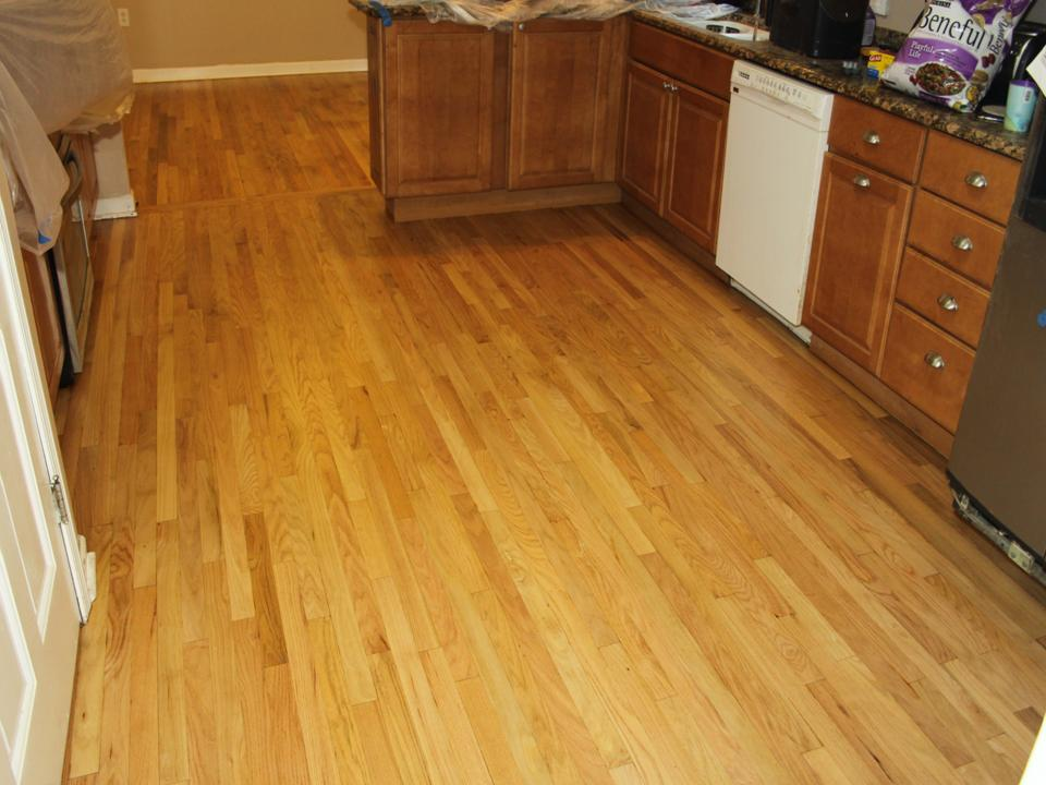 WORN AND STAINED KITCHEN OAK FLOOR AFTER