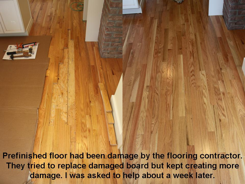 Prefinish wood floor repair