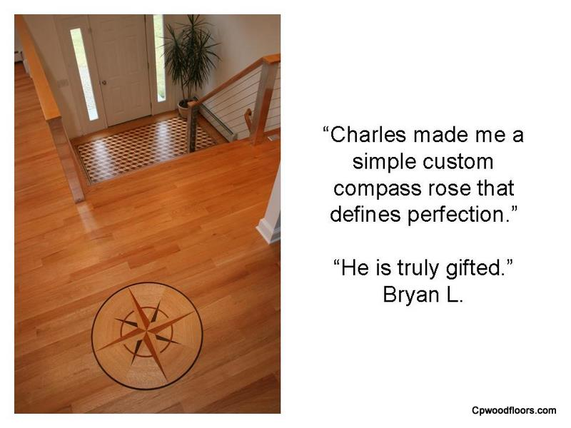 Perfect wood floor compass rose medallion installed