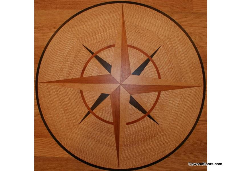 Perfect wood floor compass rose medallion