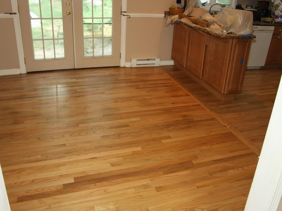 WORN AND STAINED DINING ROOM OAK FLOOR AFTER