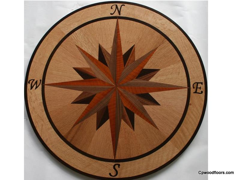 Wood floor compass rose medallion