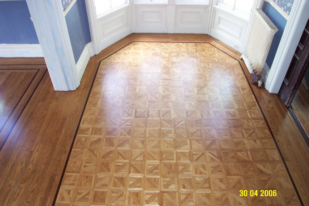 Hand cut parquet dining room floor