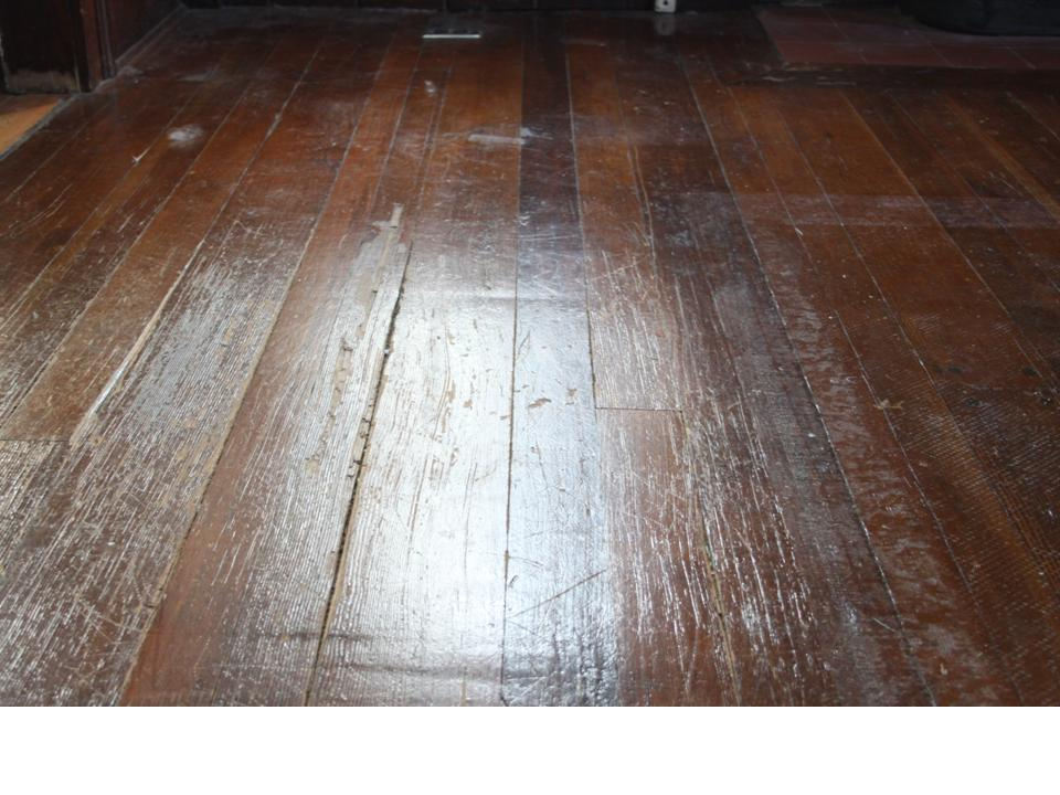 fir floor warn and damaged