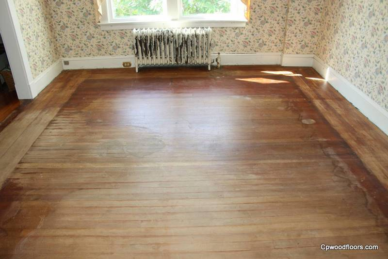 Pawcatuck CT heart pine wood floor worn