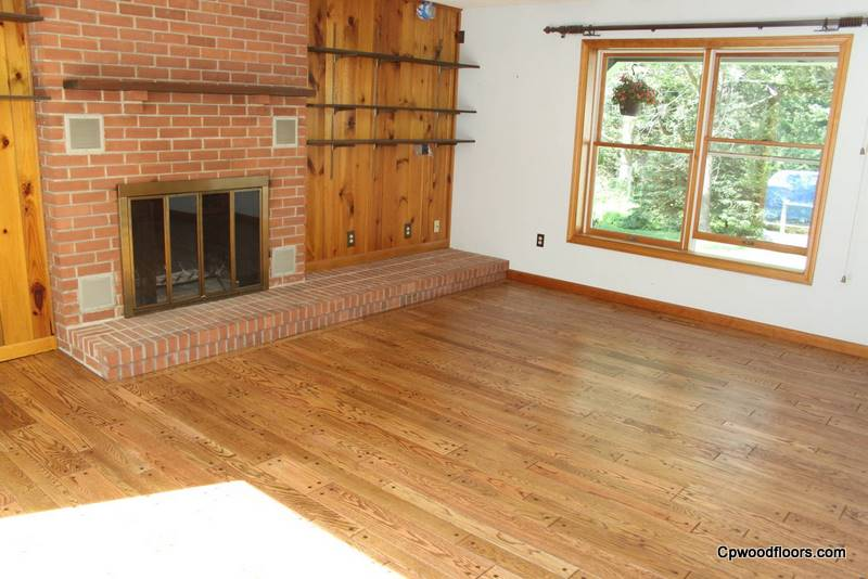 Pet stained beveled wood floor Mystic CT restored