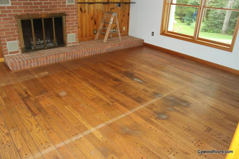 Pet stained beveled wood floor Mystic CT