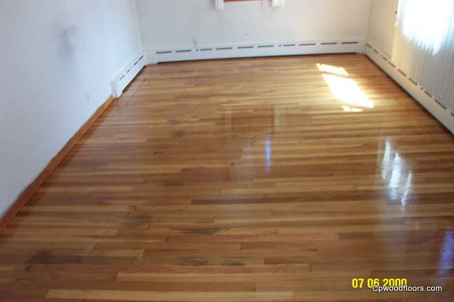Pet stained living room wood floor refinished