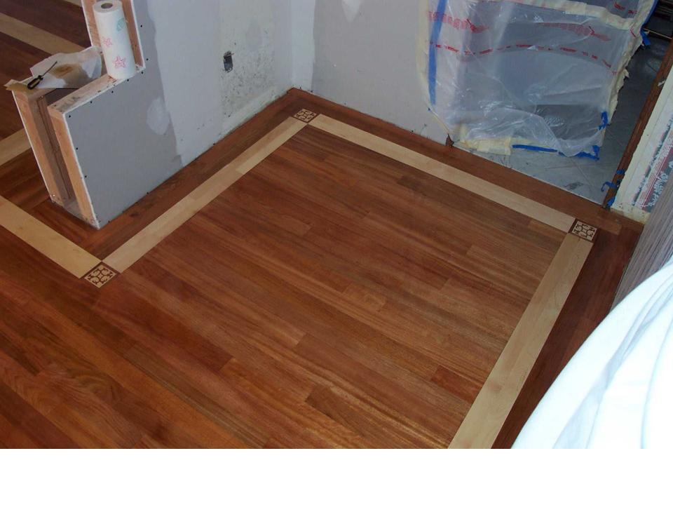 wood floor with maple boarder and coner blocks