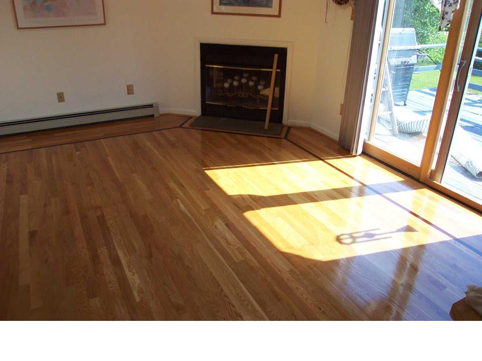 wood floor with single accent strip