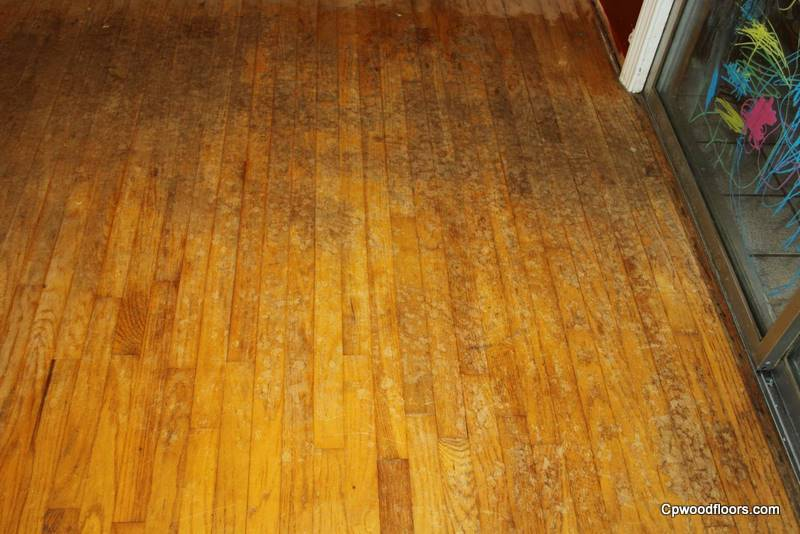 Worn stained dining room floor