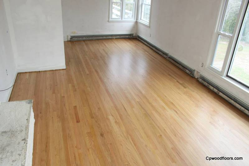 Worn stained oak floor Ledyard CT refinished