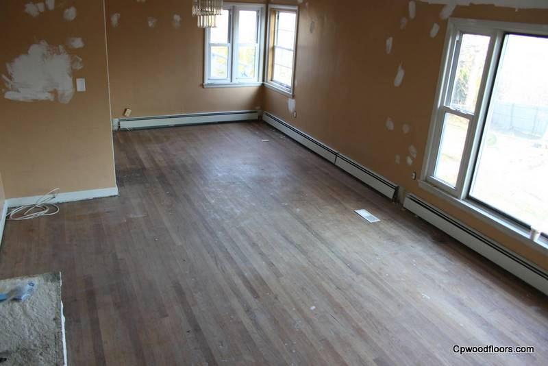 Worn stained oak floor Ledyard CT